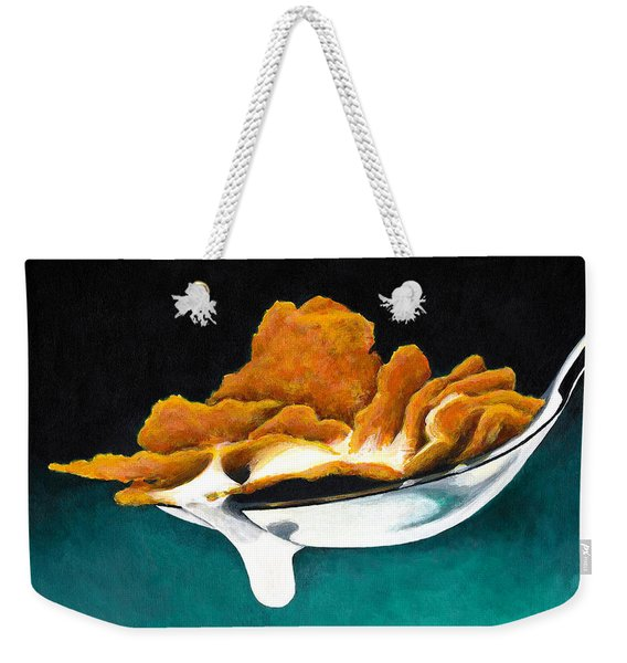 Cereal In Spoon With Milk Weekender Tote Bag