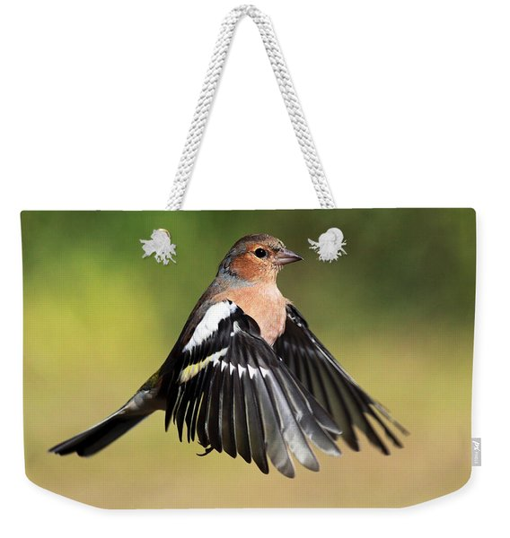 Chaffinch In Flight Weekender Tote Bag