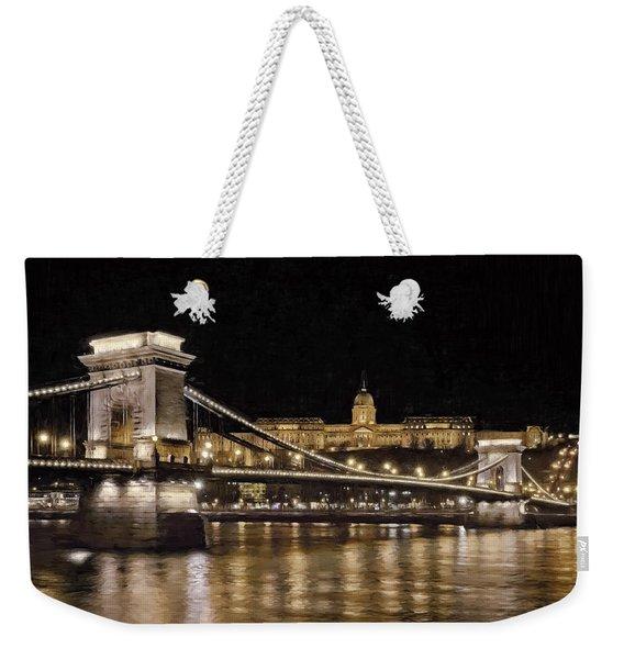 Chain Bridge And Buda Castle Winter Night Painterly Weekender Tote Bag