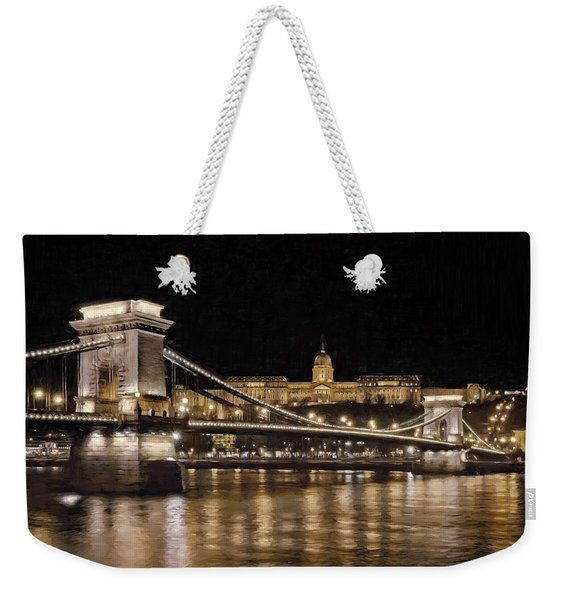 Chain Bridge And Buda Castle Winter Night Painterly Weekender Tote Bag