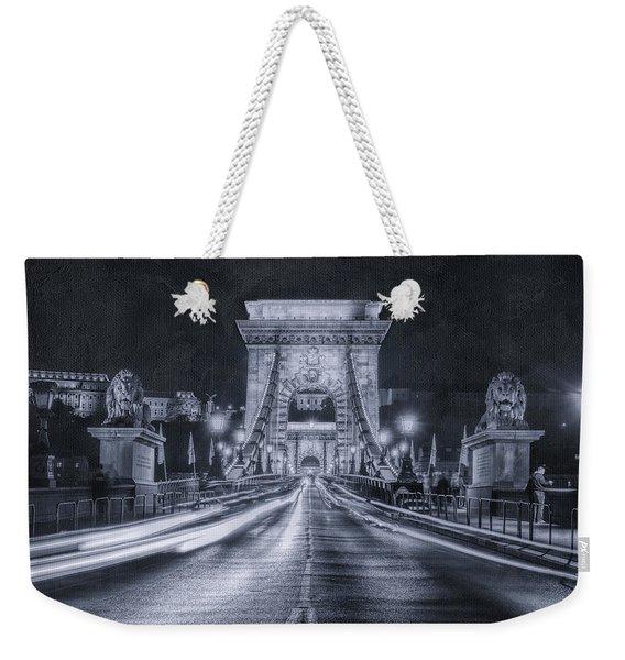 Chain Bridge Night Traffic Bwii Weekender Tote Bag