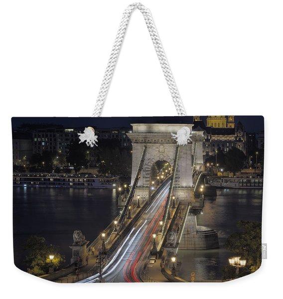 Chain Bridge Night Traffic Weekender Tote Bag