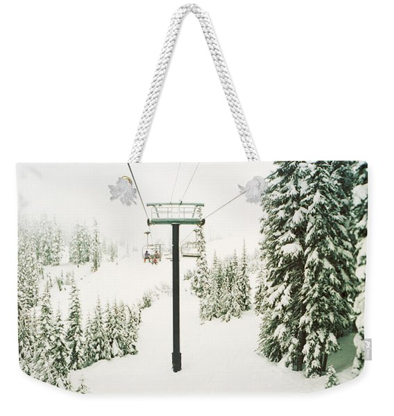 Chair Lift And Snowy Evergreen Trees Weekender Tote Bag