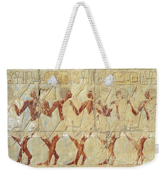 Chapel Of Hathor Hatshepsut Nubian Procession Soldiers - Digital Image -fine Art Print-ancient Egypt Weekender Tote Bag