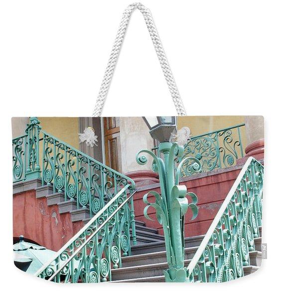 Charleston Aqua Teal French Quarter Staircase - Charleston Architecture  Weekender Tote Bag
