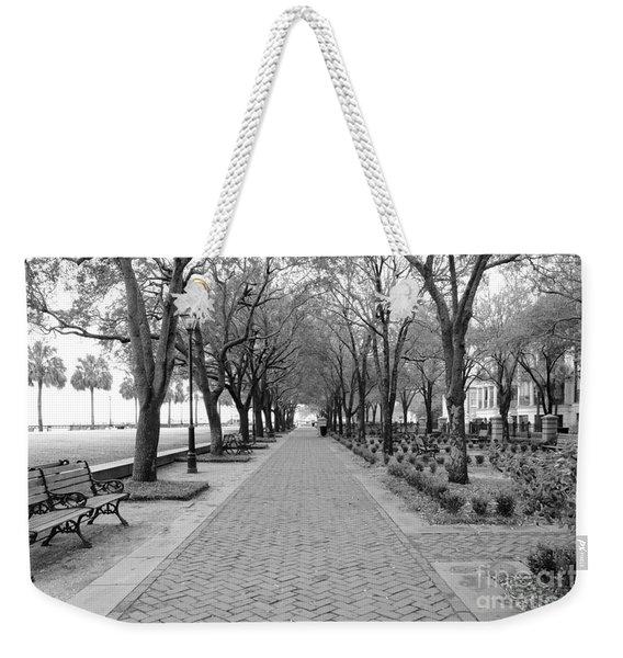 Charleston Waterfront Park Walkway - Black And White Weekender Tote Bag