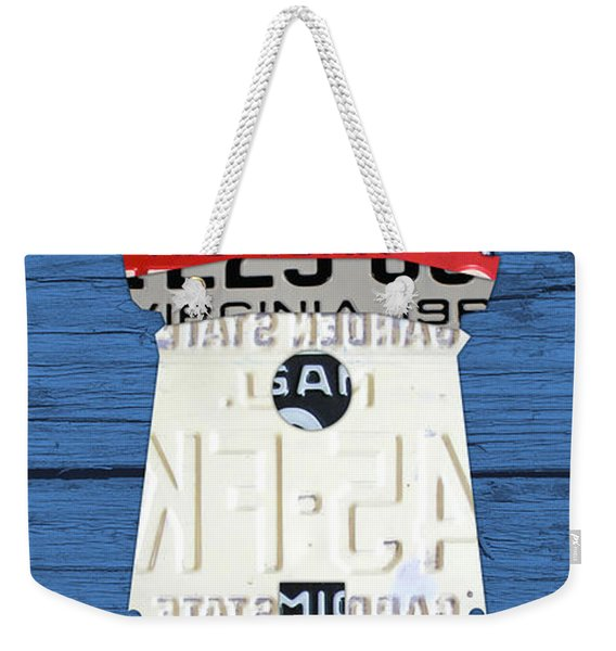 Cheboygan Crib Lighthouse Michigan Vintage License Plate Art On Wood Weekender Tote Bag