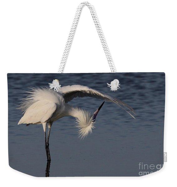 Checking For Leaks - Reddish Egret - White Form Weekender Tote Bag