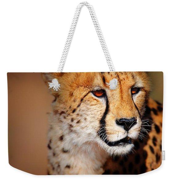 Cheetah Portrait Weekender Tote Bag