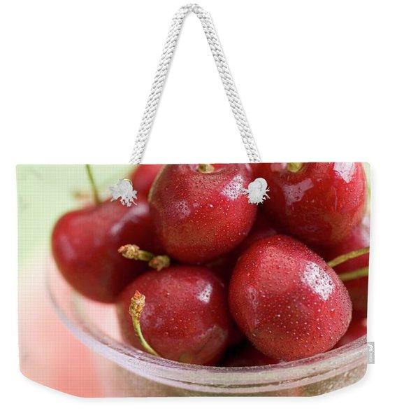 Cherries In Plastic Tub On Slice Of Watermelon Weekender Tote Bag