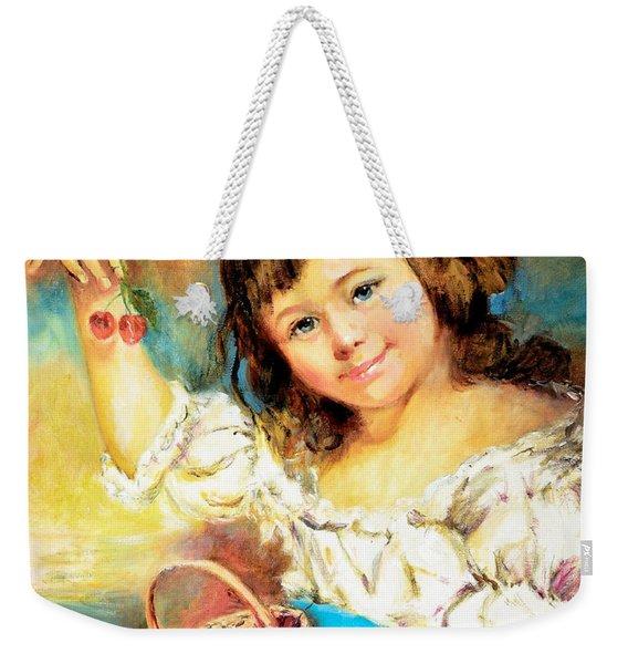 Cherry Basket Girl Weekender Tote Bag