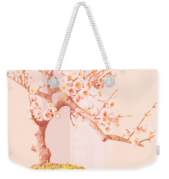 Weekender Tote Bag featuring the painting Cherry Bonsai Tree by Marian Cates