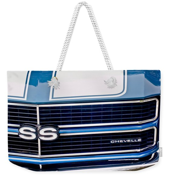 Weekender Tote Bag featuring the photograph Chevrolet Chevelle Ss Grille Emblem 2 by Jill Reger