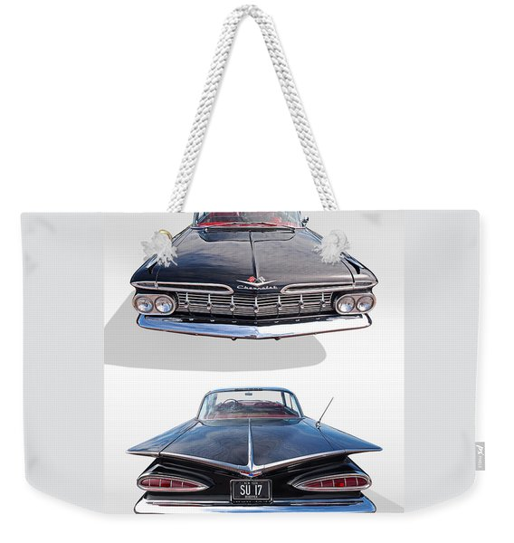 Chevrolet Impala 1959 Front And Rear Weekender Tote Bag