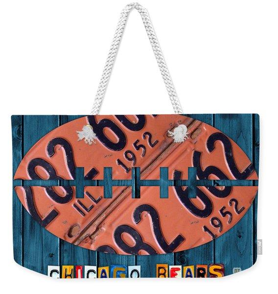 Chicago Bears Football Recycled License Plate Art Weekender Tote Bag