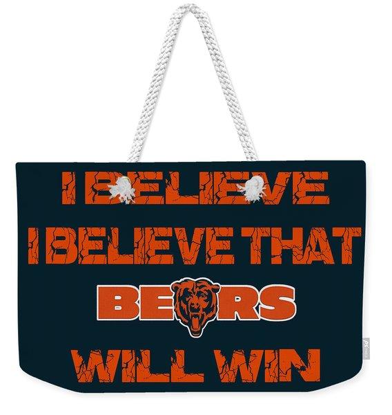 Chicago Bears I Believe Weekender Tote Bag