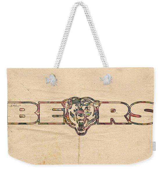 Chicago Bears Vintage Art Weekender Tote Bag