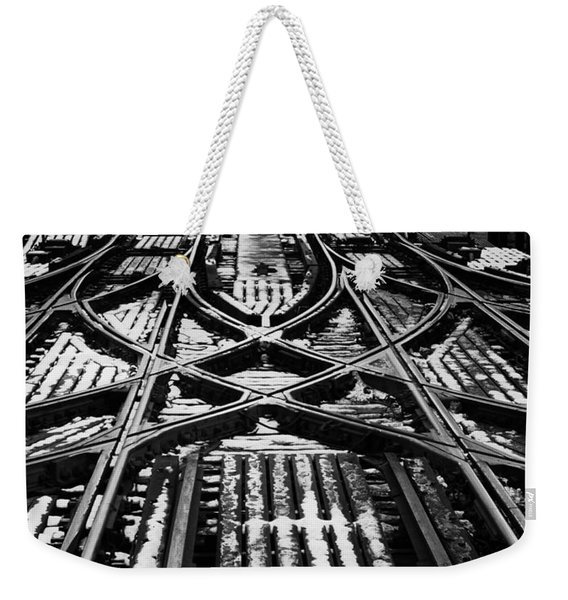 Chicago 'l' Tracks Winter Weekender Tote Bag