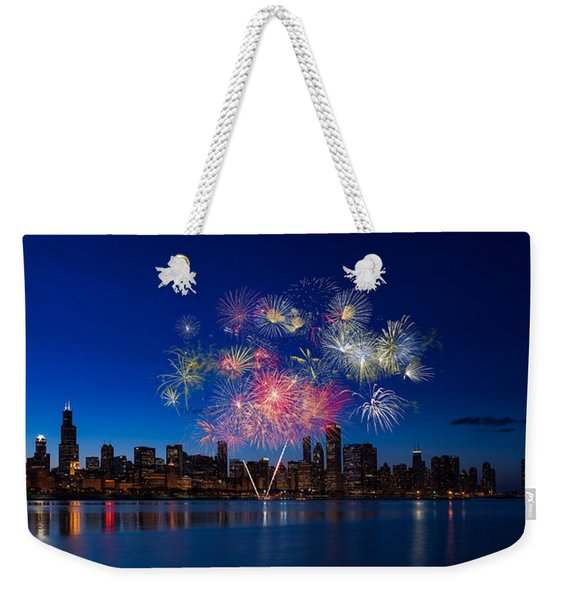 Chicago Lakefront Fireworks Weekender Tote Bag