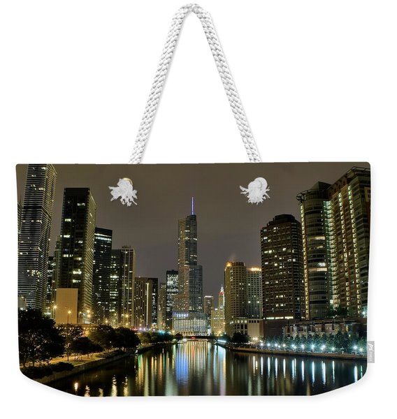Chicago Night River View Weekender Tote Bag