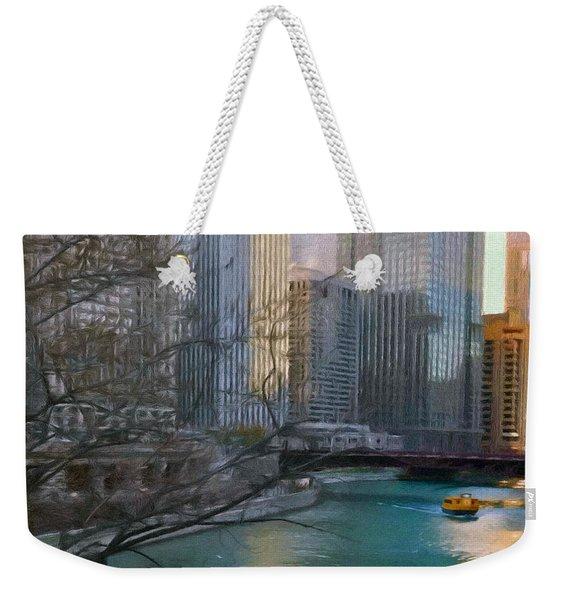 Chicago River Sunset Weekender Tote Bag