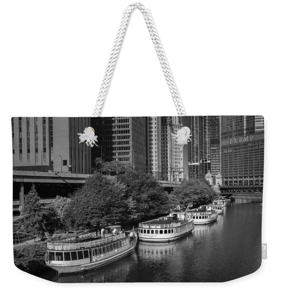Chicago River Tour Boats B W Weekender Tote Bag