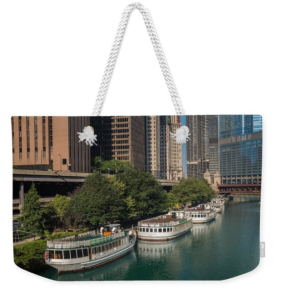 Chicago River Tour Boats Weekender Tote Bag