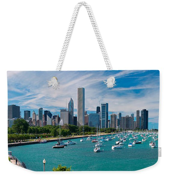 Chicago Skyline Daytime Panoramic Weekender Tote Bag