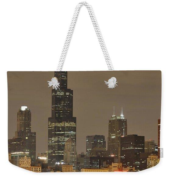 Chicago Skyline At Night Weekender Tote Bag
