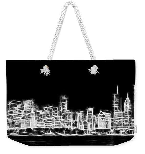 Chicago Skyline Fractal Black And White Weekender Tote Bag