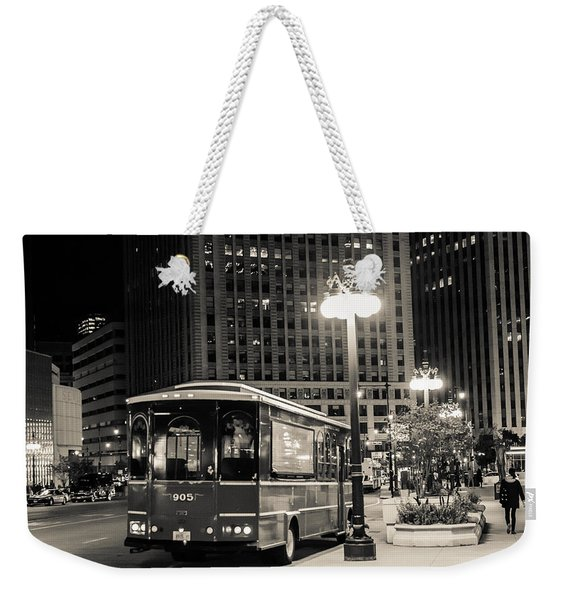 Chicago Trolly Stop Weekender Tote Bag