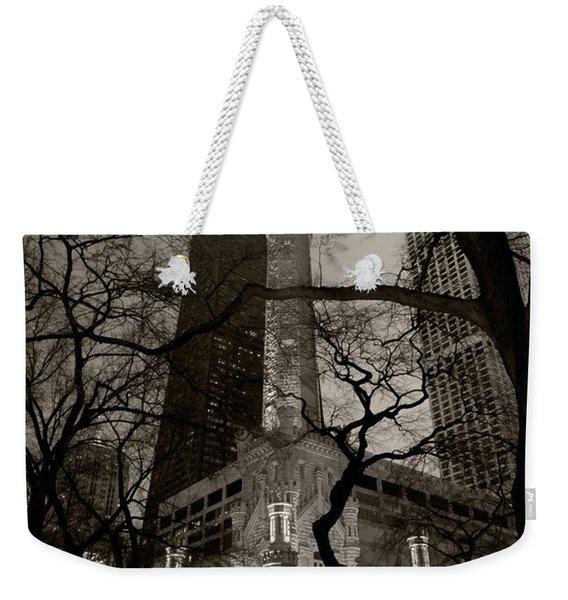 Chicago Water Tower B W Weekender Tote Bag