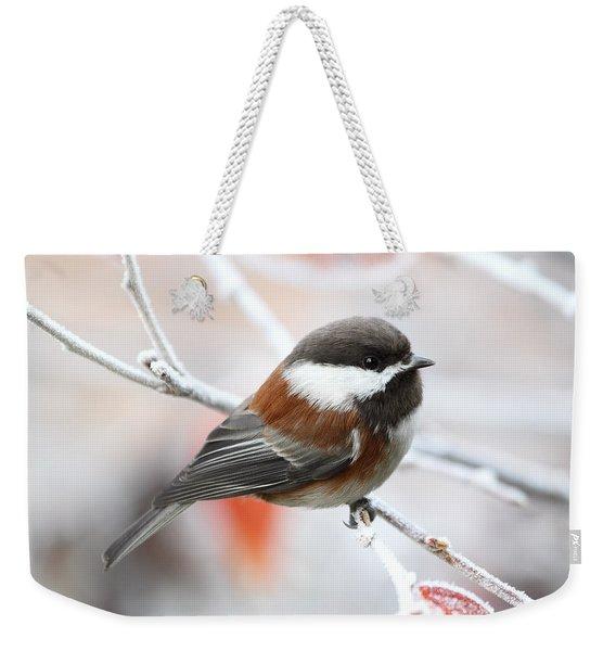 Chickadee In Winter Weekender Tote Bag