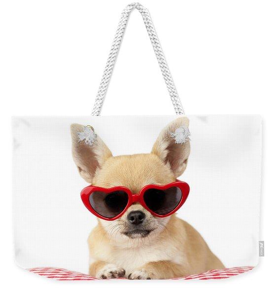 Chihuahua In Heart Sunglasses Weekender Tote Bag