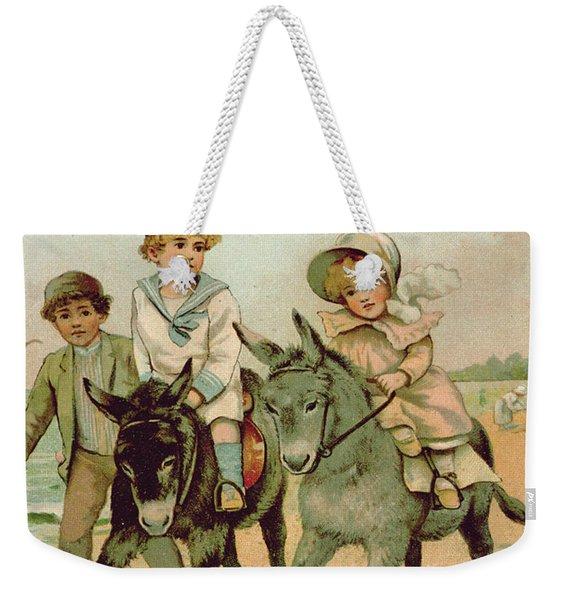 Children Riding Donkeys At The Seaside Weekender Tote Bag