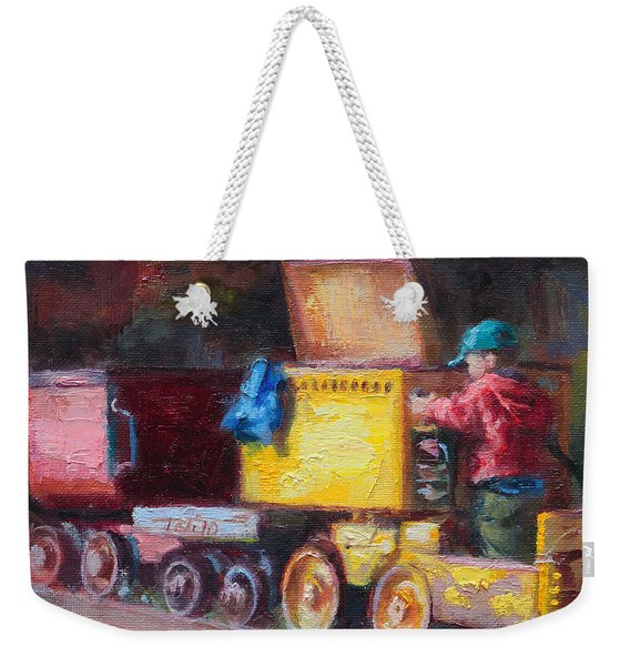 Weekender Tote Bag featuring the painting Child's Play - Gold Mine Train by Talya Johnson