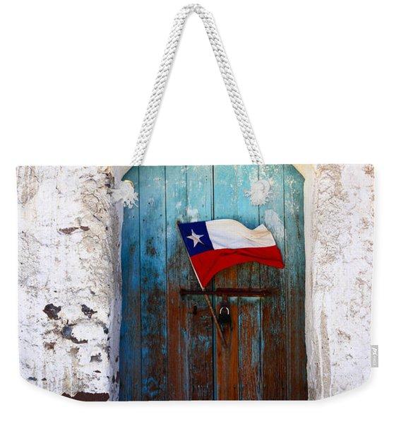 Chilean Flag On Church Door Weekender Tote Bag