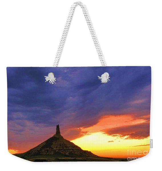 Chimney Rock Nebraska Weekender Tote Bag