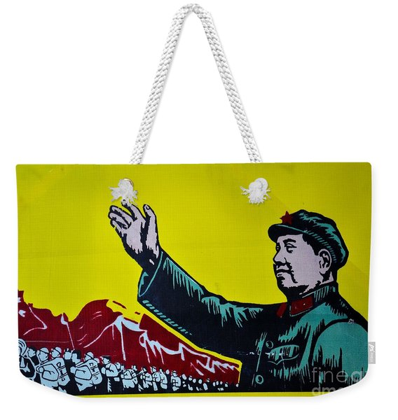 Chinese Communist Propaganda Poster Art With Mao Zedong Shanghai China Weekender Tote Bag