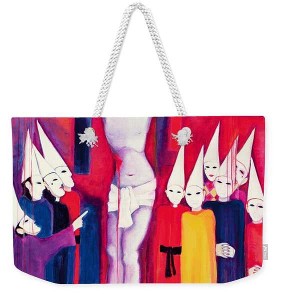 Christ And The Politicians, 2000 Acrylic On Canvas Weekender Tote Bag