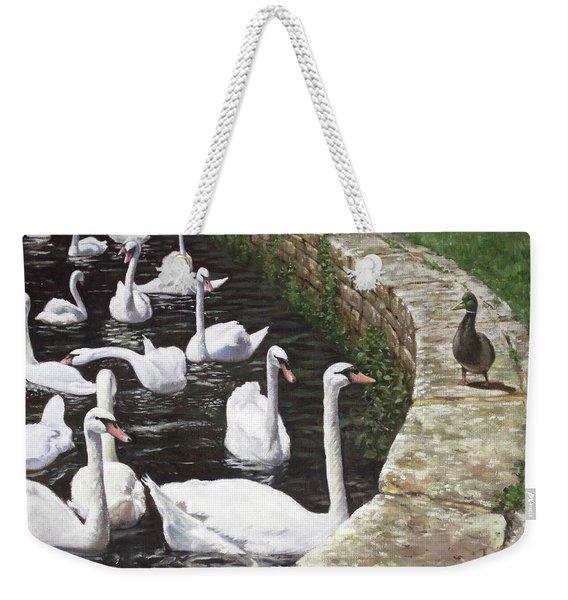 christchurch harbour swans with Mallard Duck conversation Weekender Tote Bag