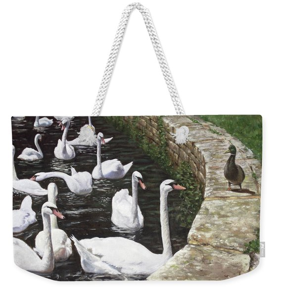 christchurch harbour swans with Mallard Duck conversation Weekender Tote Bag