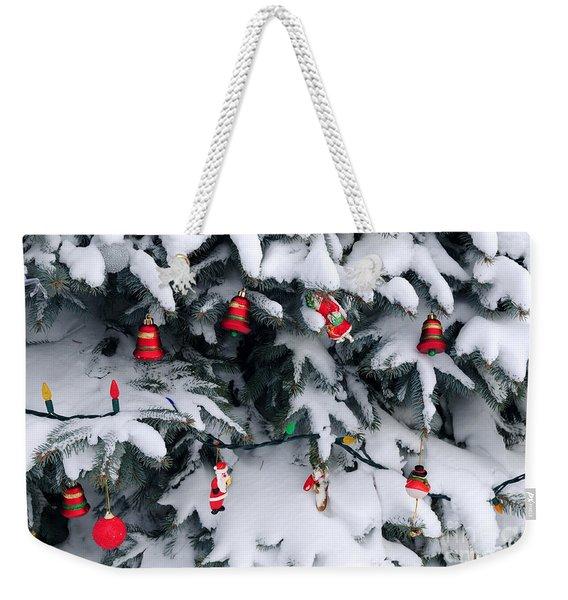 Christmas Decorations In Snow Weekender Tote Bag