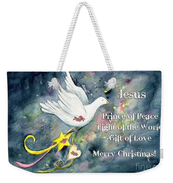 Christmas Dove Weekender Tote Bag