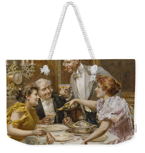 Christmas Eve Dinner In The Private Dining Room Of A Great Restaurant Weekender Tote Bag