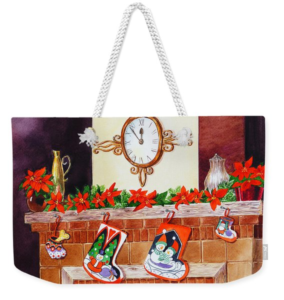 Christmas Fireplace Time For Holidays Weekender Tote Bag