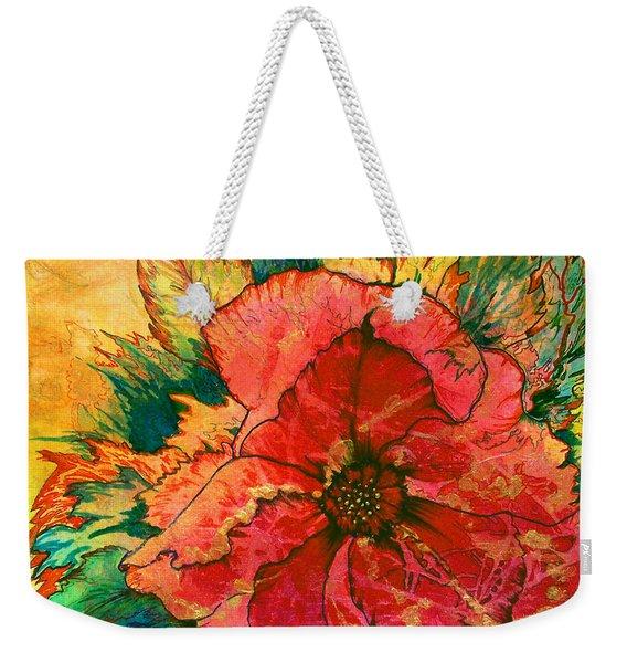 Weekender Tote Bag featuring the painting Christmas Flower by Nancy Cupp