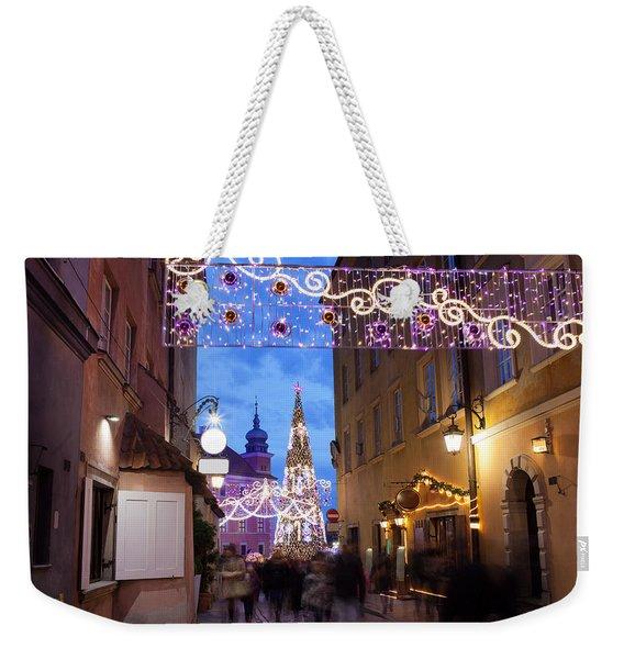 Christmas Illumination On Piwna Street In Warsaw Weekender Tote Bag
