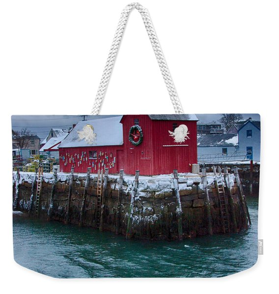 Weekender Tote Bag featuring the photograph Christmas In Rockport Massachusetts by Jeff Folger