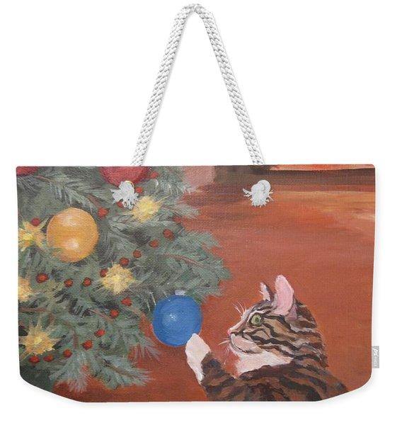 Christmas Kitty Cat Weekender Tote Bag